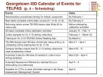georgetown isd calendar of events for telpas p 4 scheduling