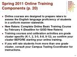 spring 2011 online training components p 20