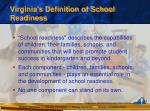 virginia s definition of school readiness