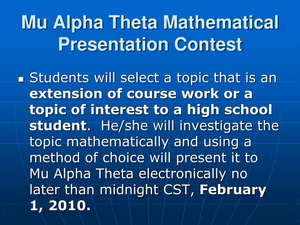 Mu Alpha Theta Mathematical Presentation Contest