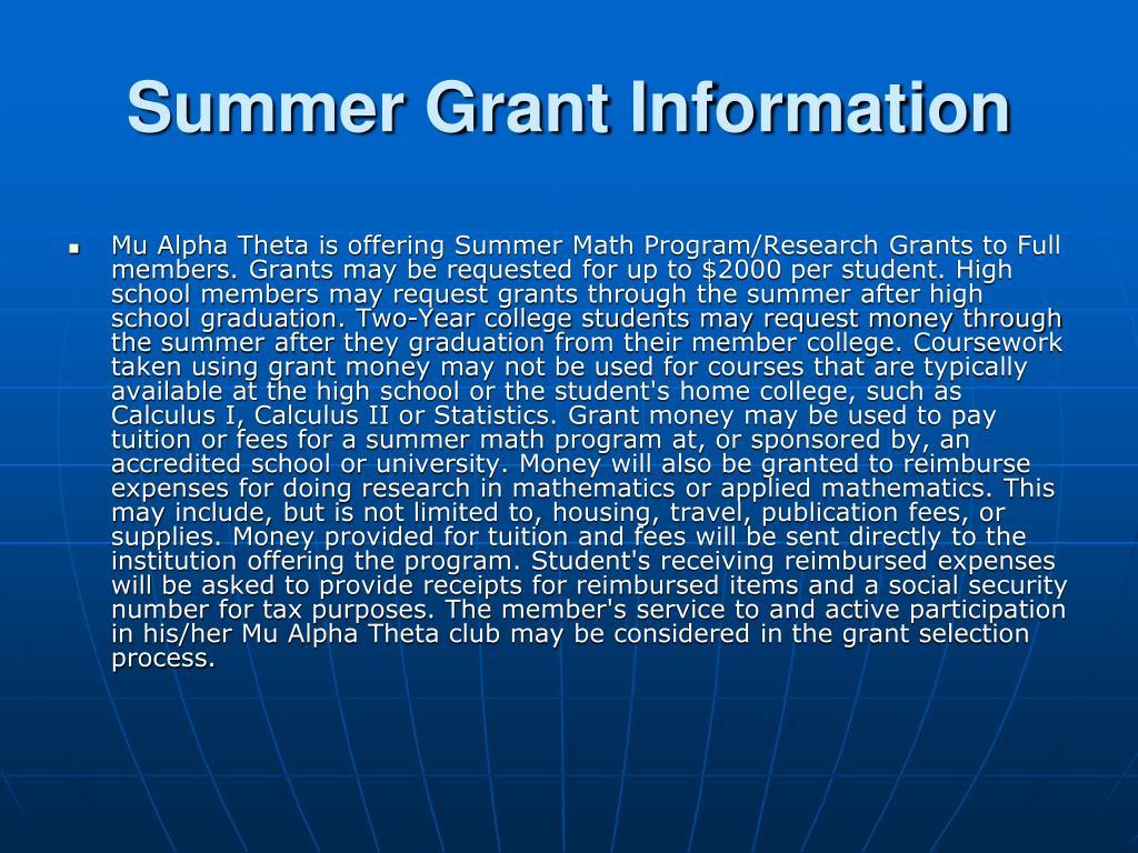 Summer Grant Information