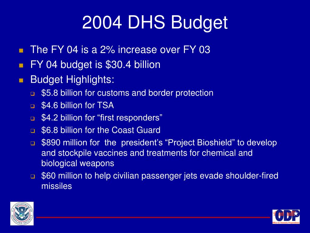 2004 DHS Budget
