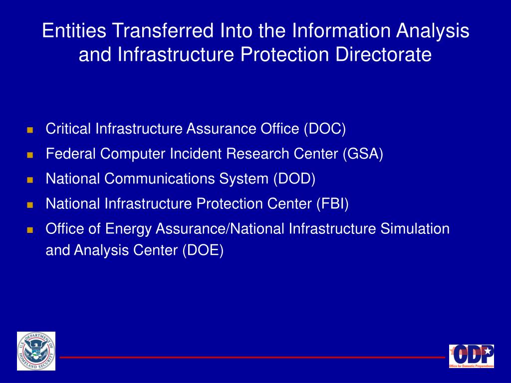 Entities Transferred Into the Information Analysis and Infrastructure Protection Directorate