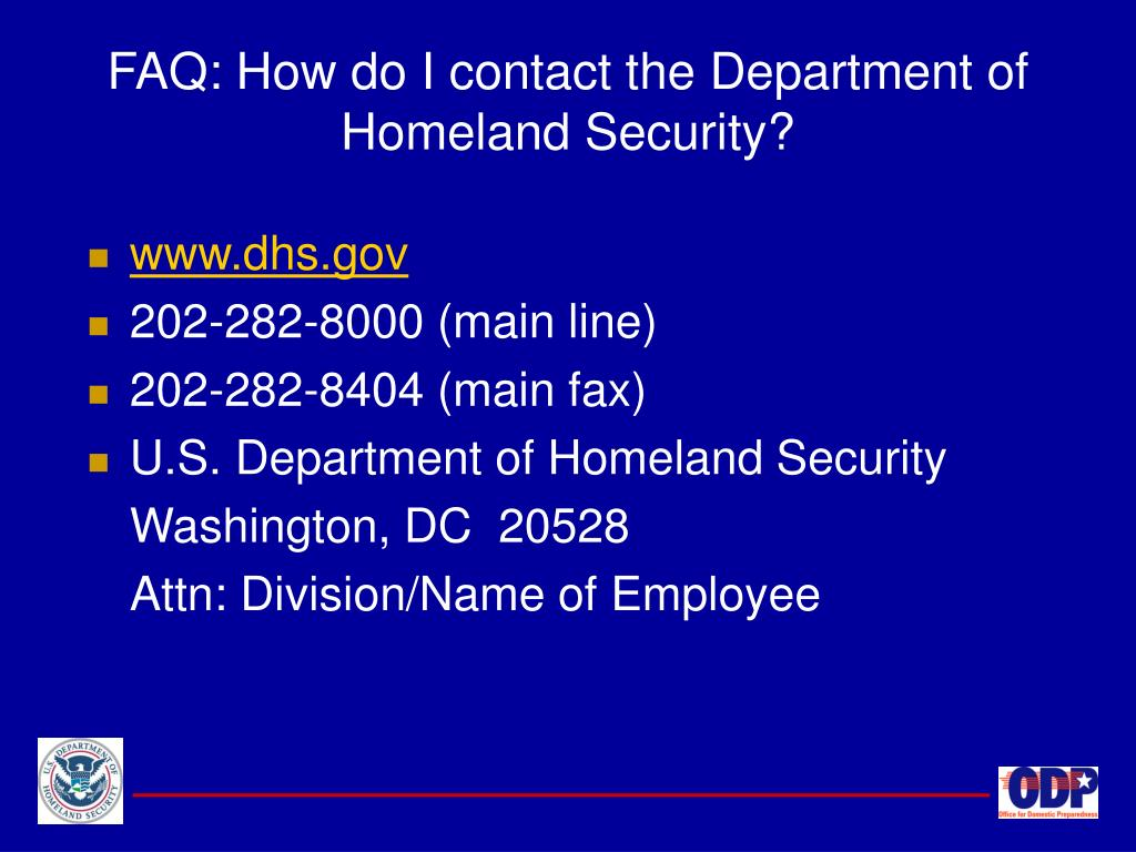 FAQ: How do I contact the Department of Homeland Security?