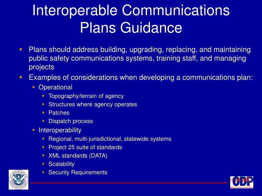 Interoperable Communications Plans Guidance