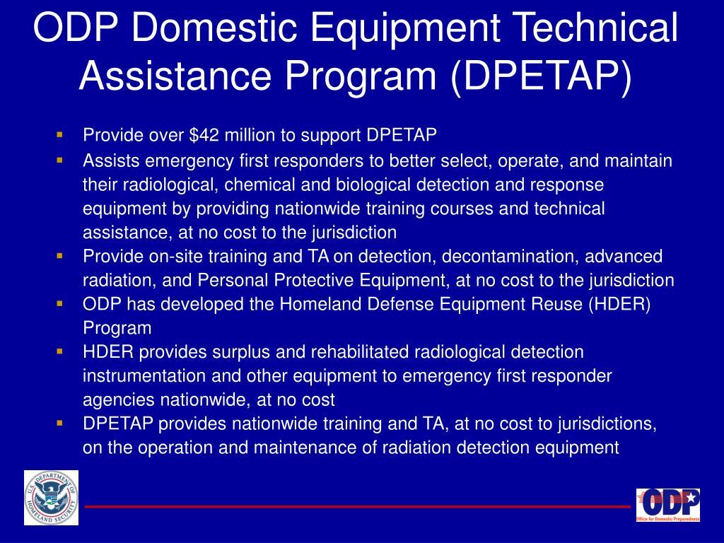 ODP Domestic Equipment Technical Assistance Program (DPETAP)