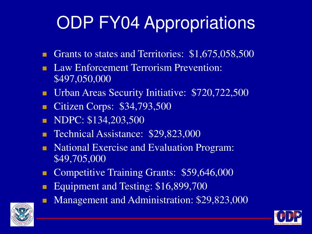 ODP FY04 Appropriations