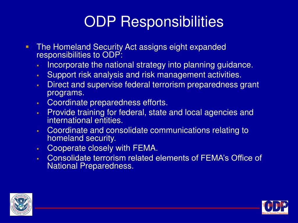 ODP Responsibilities