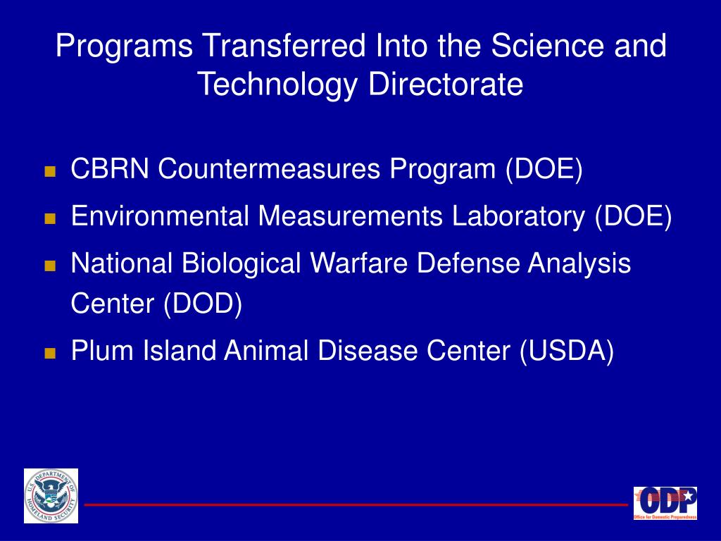 Programs Transferred Into the Science and Technology Directorate