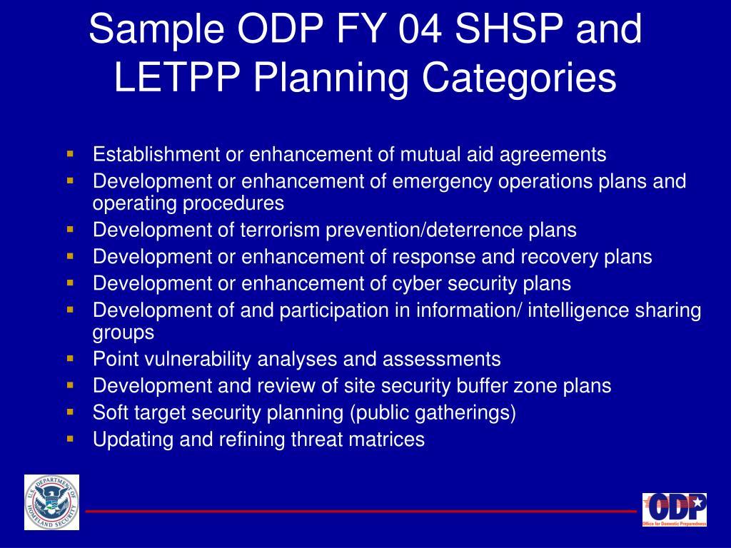 Sample ODP FY 04 SHSP and LETPP Planning Categories