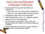 early care and education landscape child care