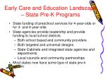 early care and education landscape state pre k programs