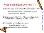 head start basic overview 1