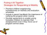 putting it all together strategies for responding to mobility
