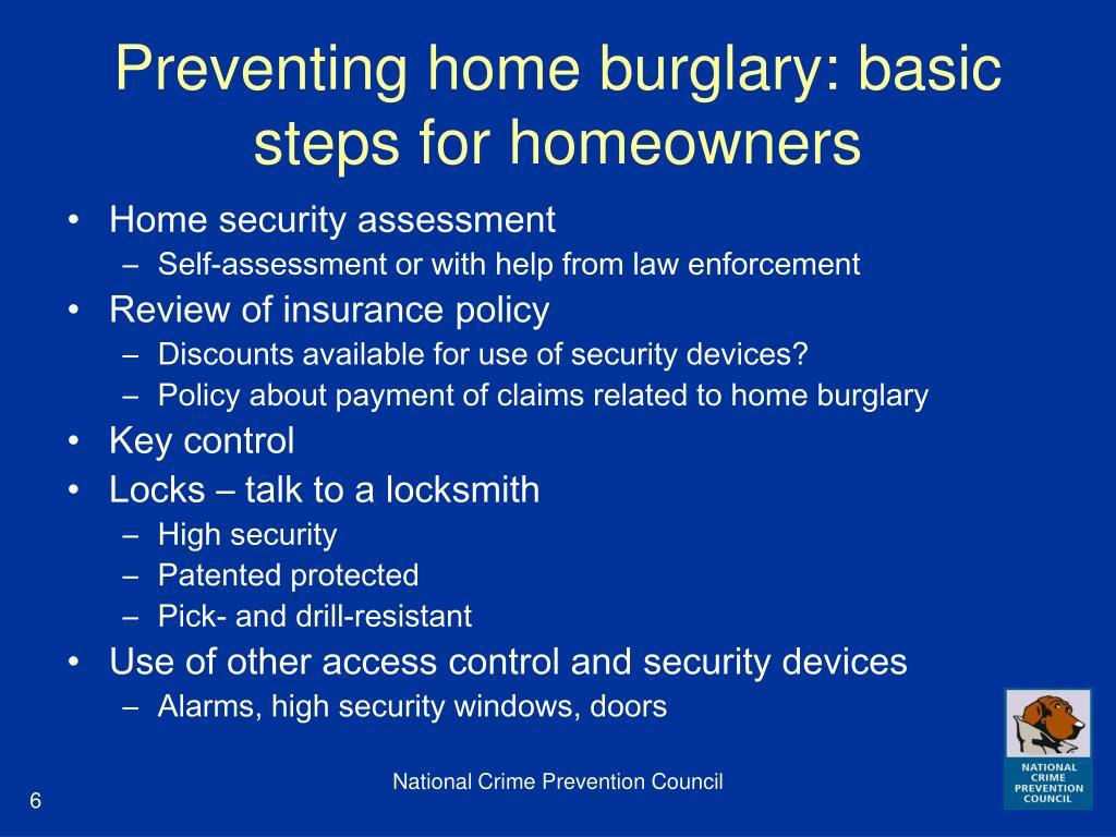 Preventing home burglary: basic steps for homeowners