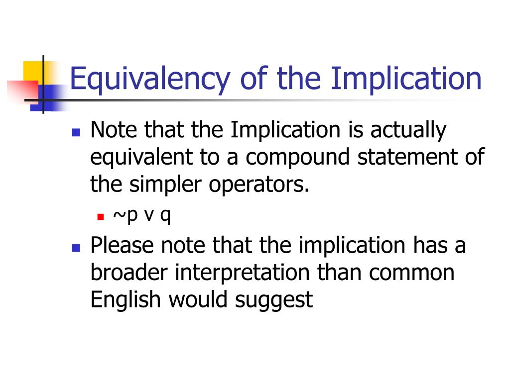 Equivalency of the Implication