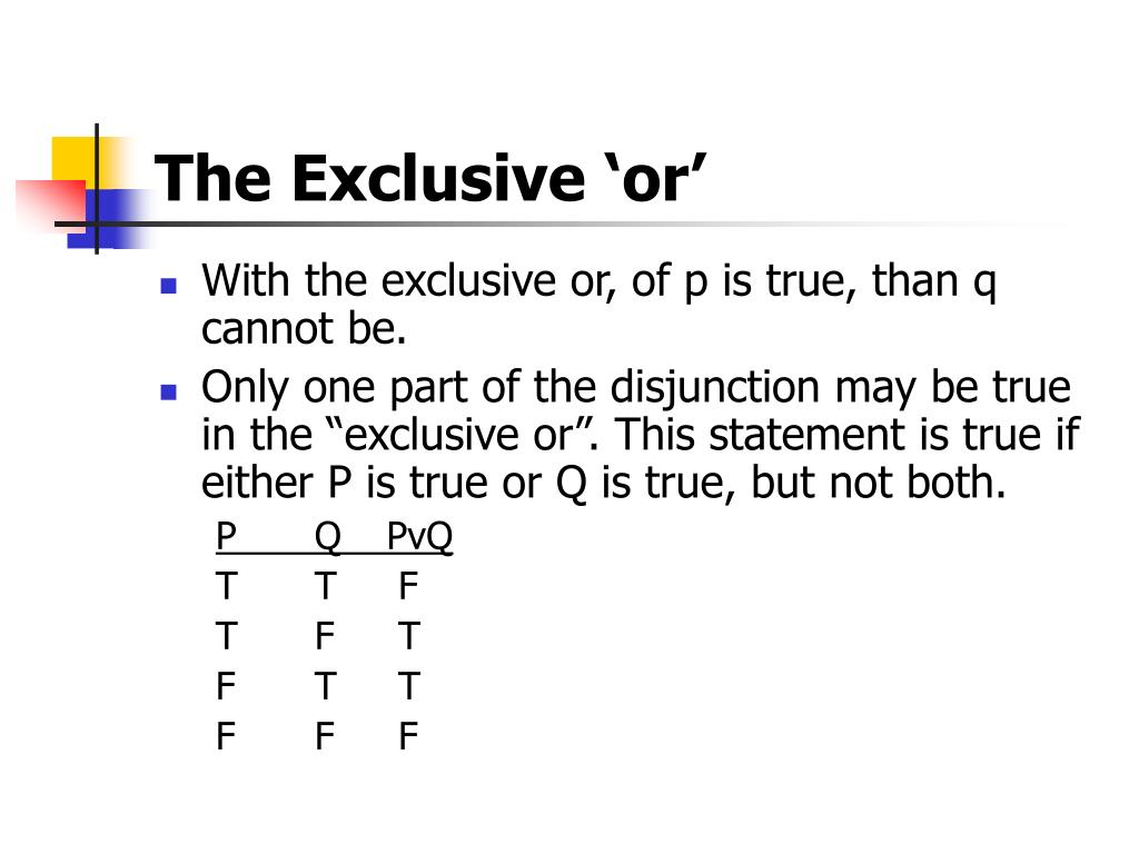 The Exclusive 'or'