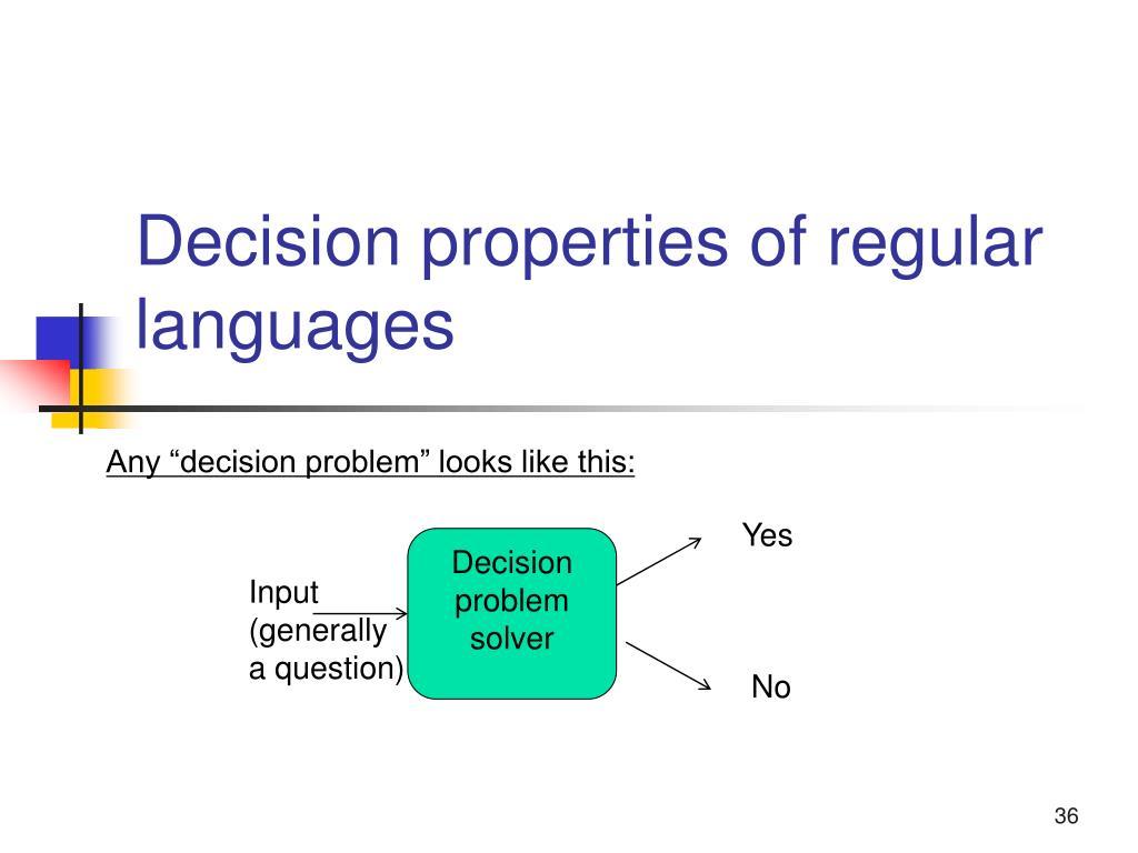 Decision properties of regular languages
