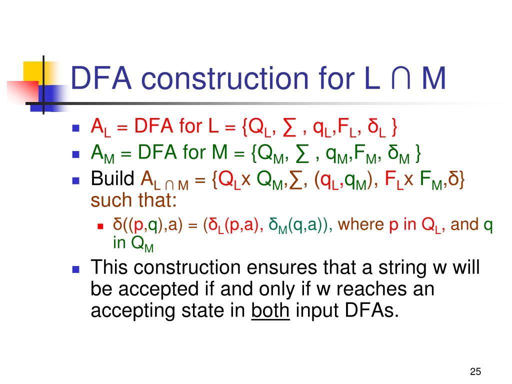 DFA construction for