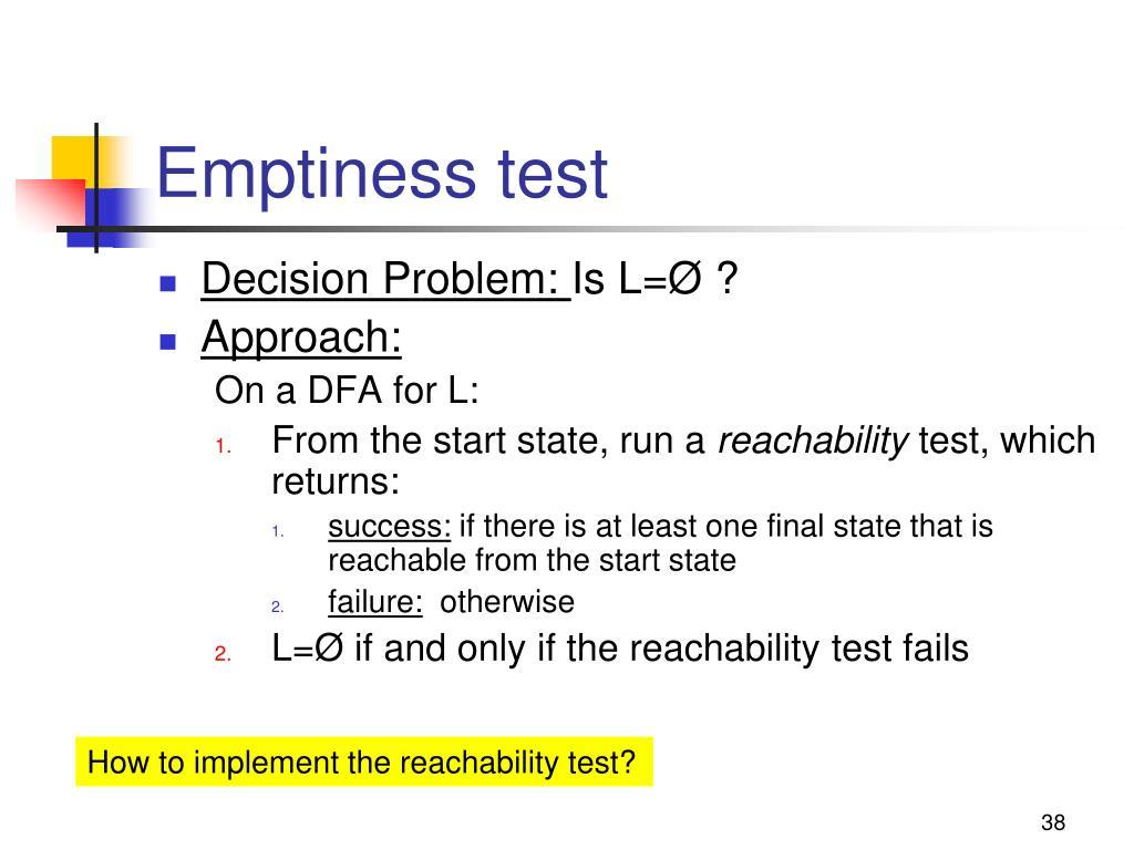 Emptiness test