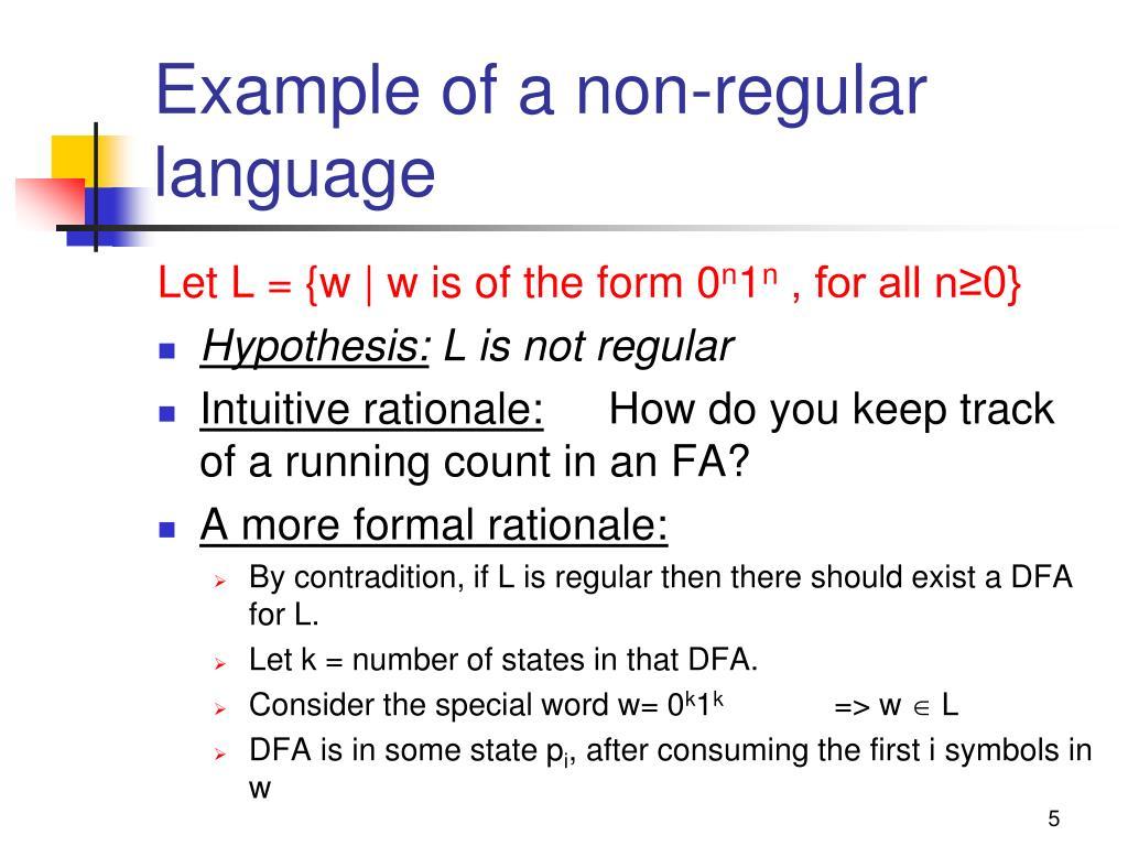 Example of a non-regular language