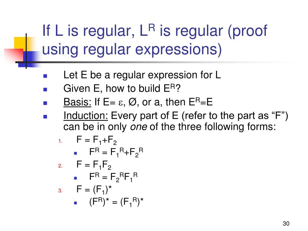 If L is regular, L