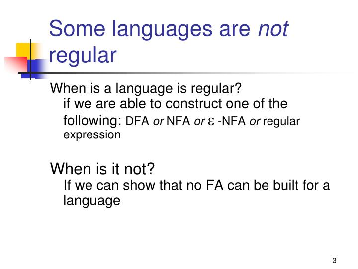 Some languages are not regular