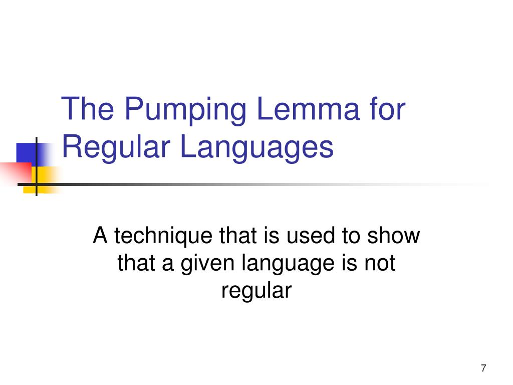 The Pumping Lemma for Regular Languages