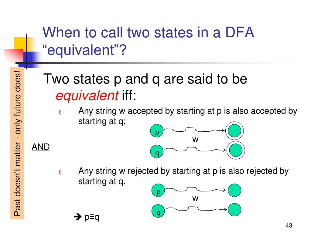 """When to call two states in a DFA """"equivalent""""?"""