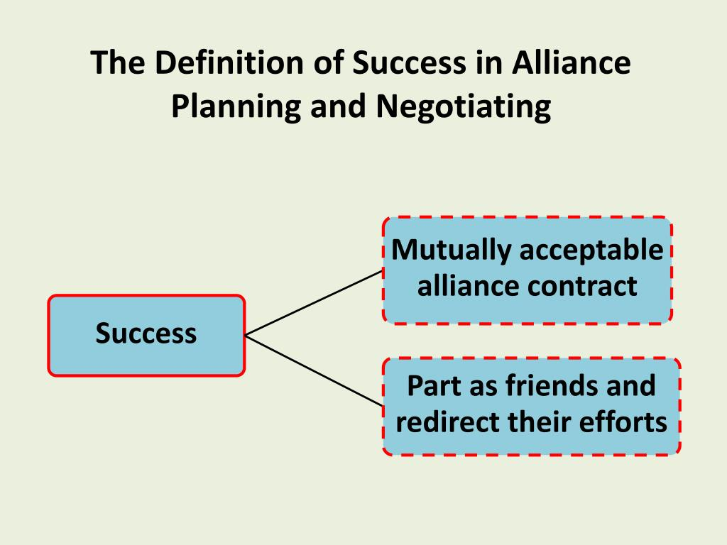 The Definition of Success in Alliance Planning