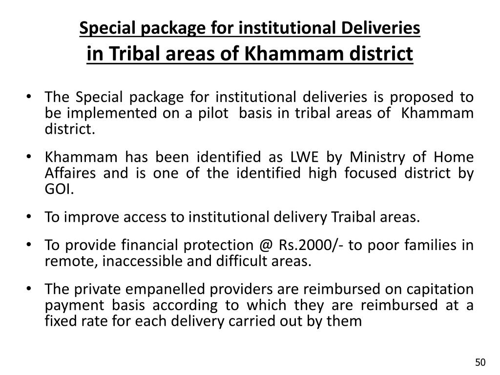 Special package for institutional Deliveries