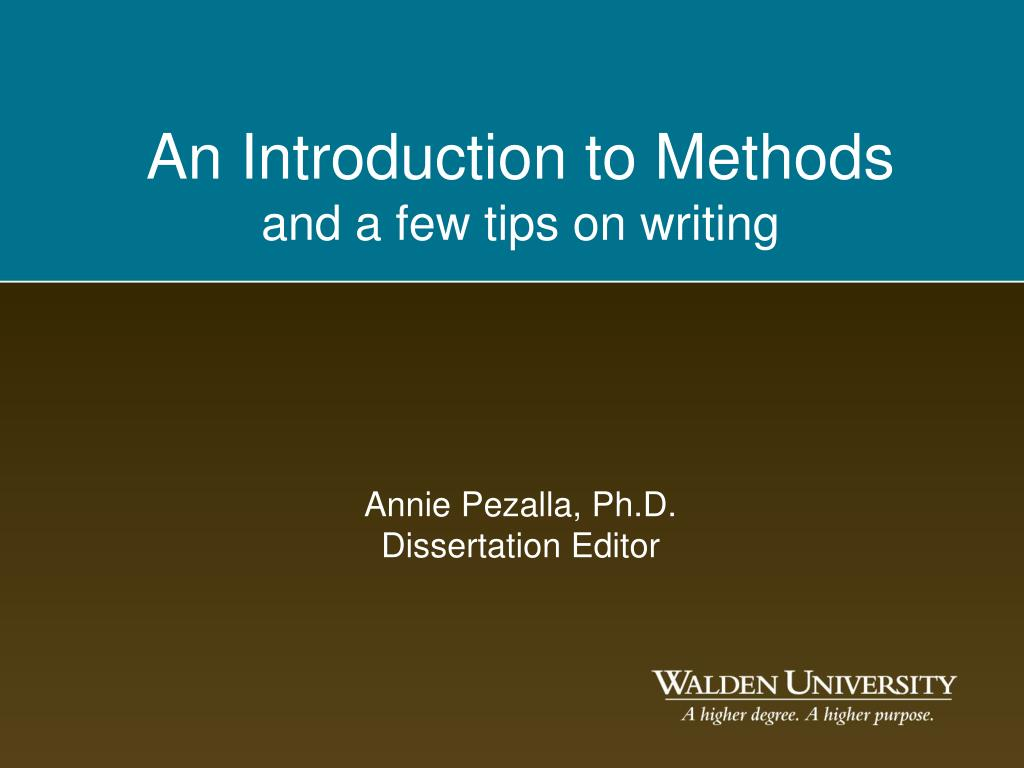 An Introduction to Methods