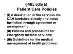 485 635 a patient care policies40
