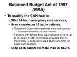 balanced budget act of 1997 bba