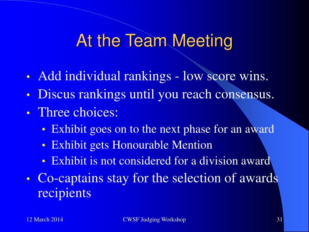 At the Team Meeting