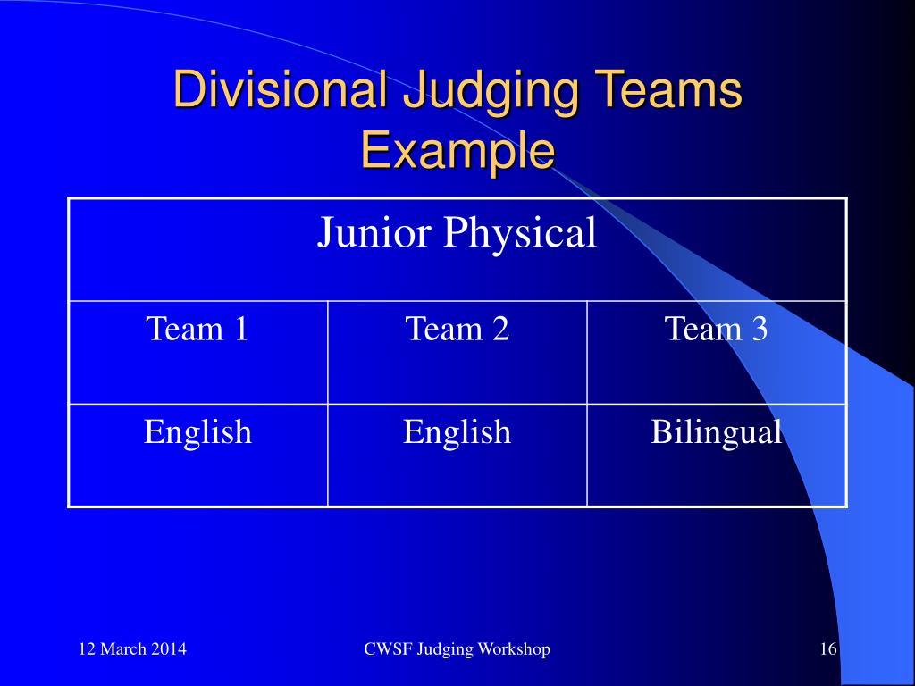Divisional Judging Teams