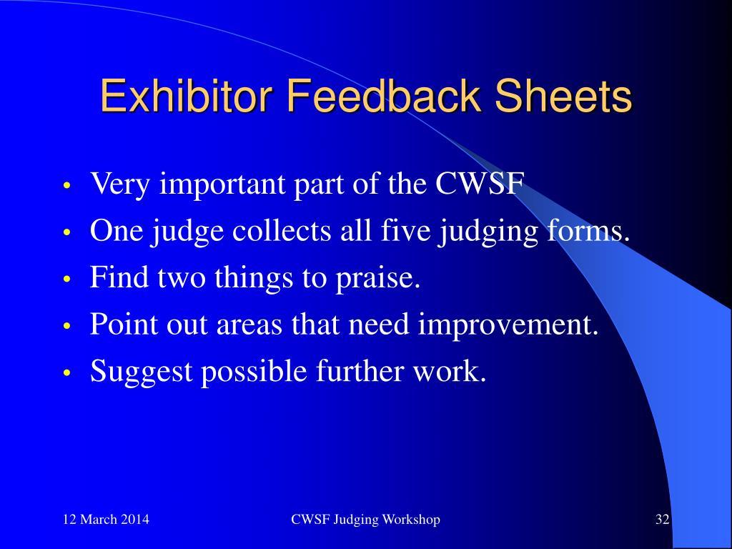 Exhibitor Feedback Sheets