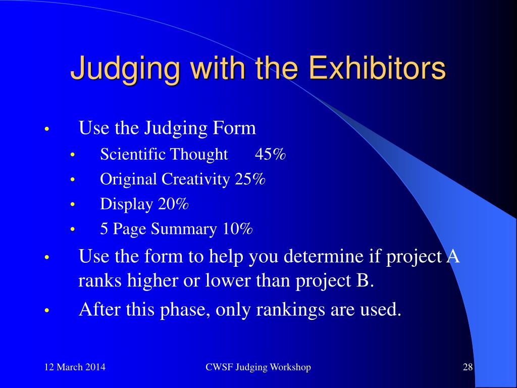 Judging with the Exhibitors