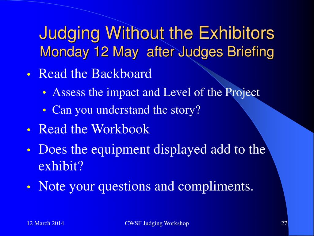 Judging Without the Exhibitors