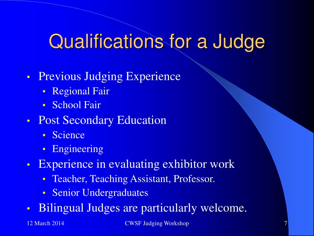 Qualifications for a Judge