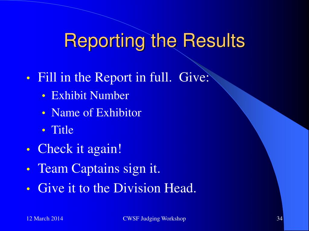 Reporting the Results
