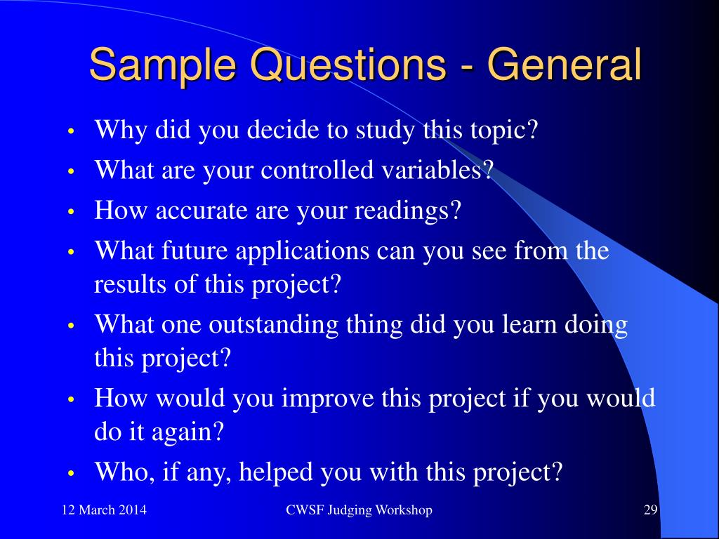 Sample Questions - General