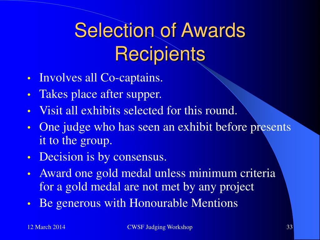 Selection of Awards Recipients