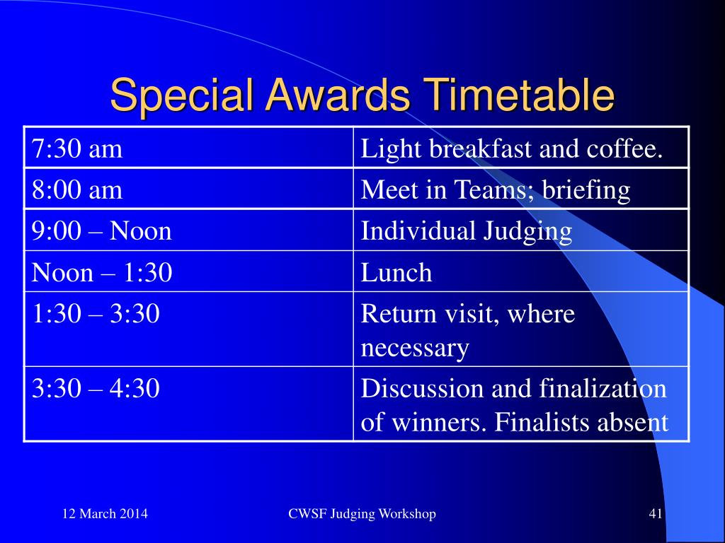 Special Awards Timetable