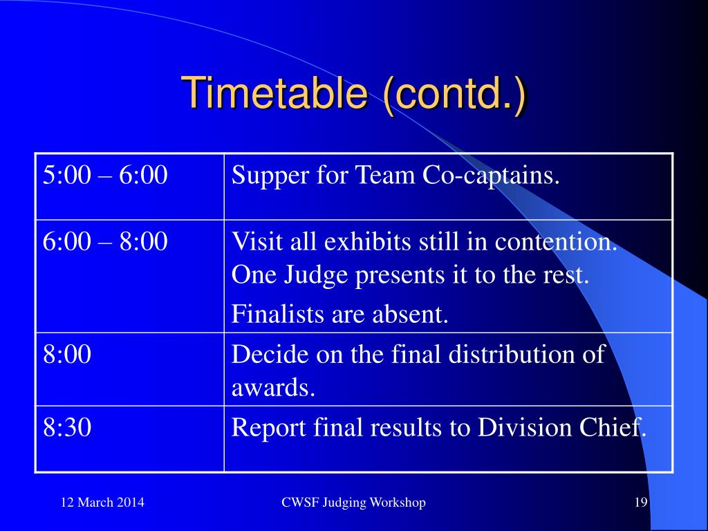 Timetable (contd.)
