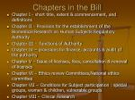 chapters in the bill