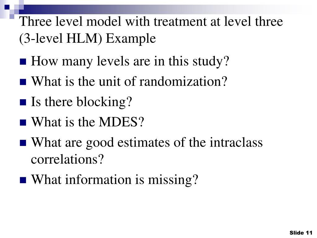 Three level model with treatment at level three (3-level HLM) Example