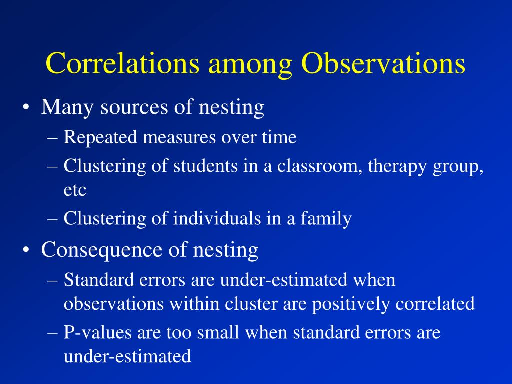 Correlations among Observations