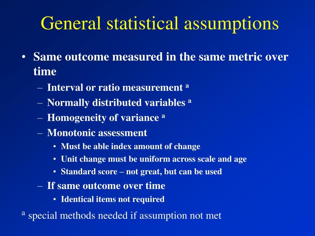 General statistical assumptions