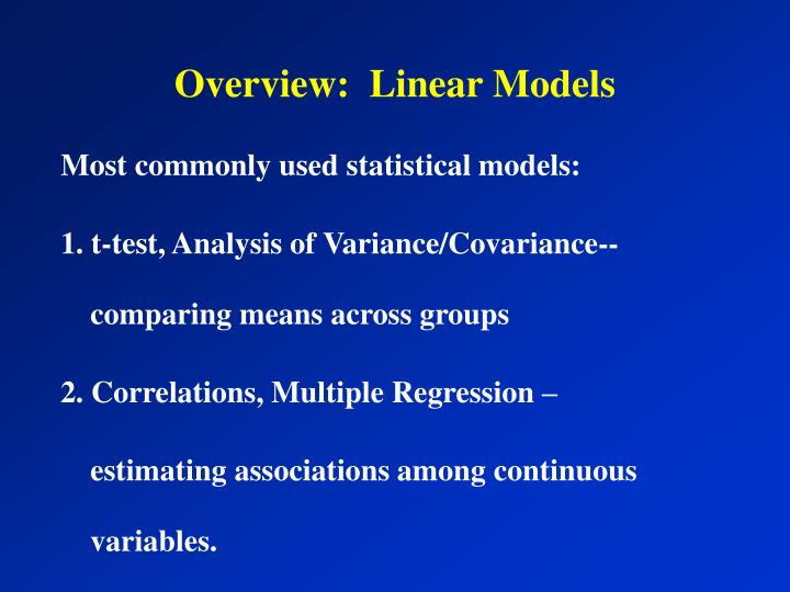 Overview linear models